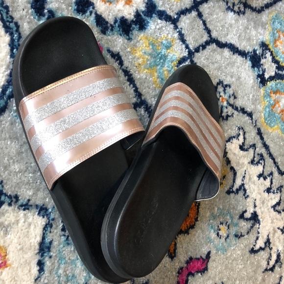 rose gold adidas sandals